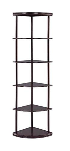 5-Shelf Corner Bookshelf Cappuccino