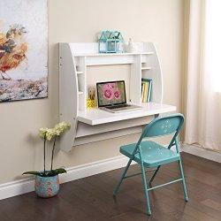 Prepac Floating Desk with Storage, White