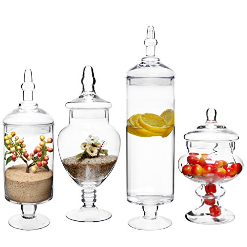 MyGift Large Classic Clear Glass Lid Apothecary Jars