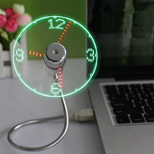 TAKSON USB LED Clock Fan Portable USB Fan