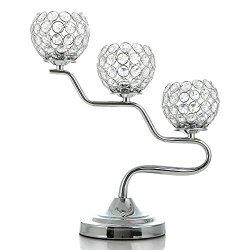 VINCIGANT Silver Crystal Candelabras Fireplace Candleholder