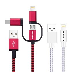 KOOTION MFI Certified 6ft 3-in-1 USB Charging Cable