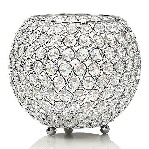 VINCIGANT Silver Crystal Floor Vases/Bowl Candleholders