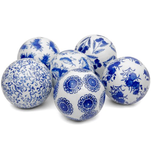 "ORIENTAL FURNITURE 4"" Blue & White Decorative Porcelain Ball"