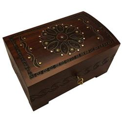 Large Wooden Chest Box w/Lock and Key Polish Handcrafted