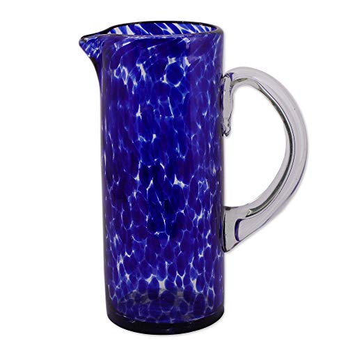 NOVICA Hand Blown Blue and Clear Decorative