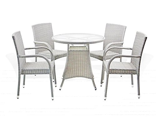 5 Pc Patio Resin Outdoor Wicker Dining Set. Round Table
