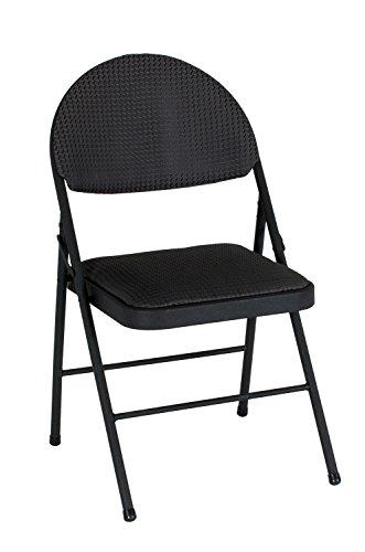 COSCO XL Comfort Folding Chair Black Fabric (4-pack)