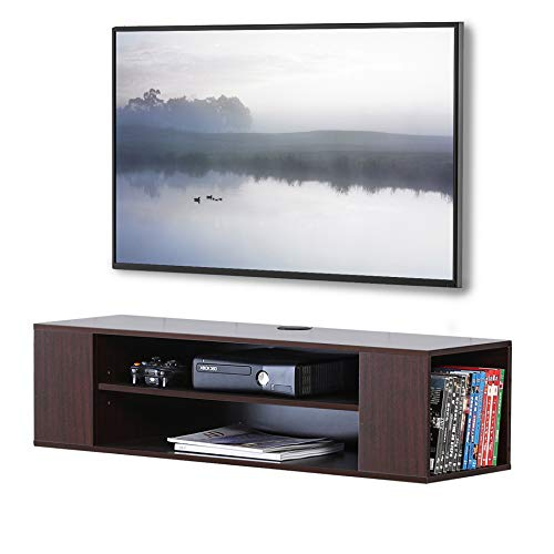 FITUEYES Wall Mounted Audio/Video Console Wood Grain