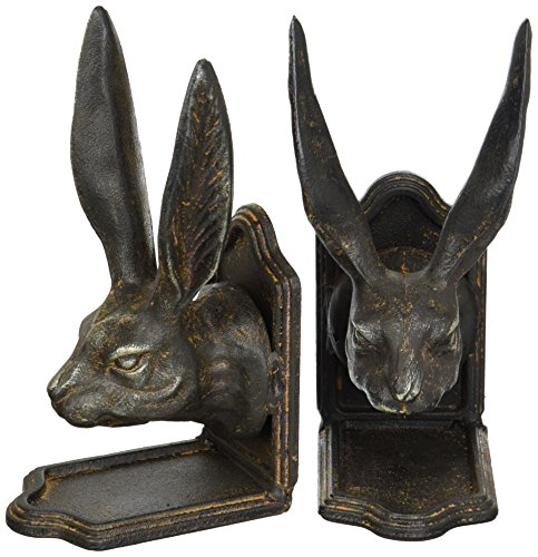 Creative Co-op Set of Cast Iron Rabbit Head Bookends