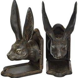 Creative Co-op Set of Cast Iron Rabbit Head Bookends