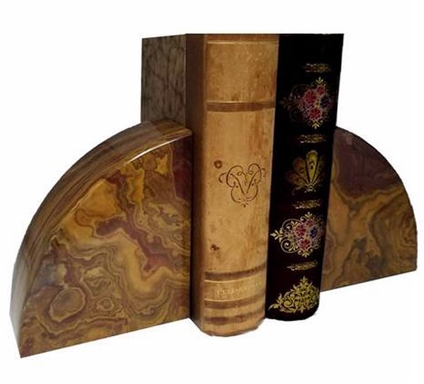 Khan Imports Decorative Onyx Stone Bookends
