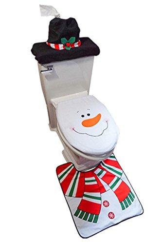 D-FantiX 3-Piece Snowman Santa Toilet Seat Cover