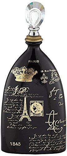 Kensington Hill French Script,High Decorative Black Ceramic Bottle