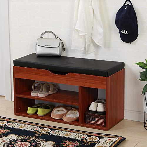 SHUHOME Shoe Bench with Storage Box Shoe