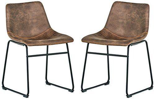 "Rivet Mid-Century 2-Pack Microfiber Chairs, 30.5""H, Brown"
