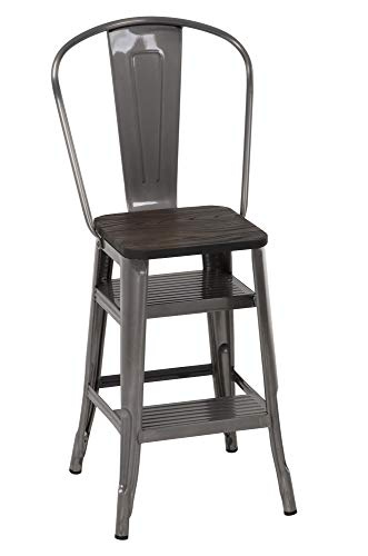 COSCO Luxor Stool with Steps, Antique Gun Metal