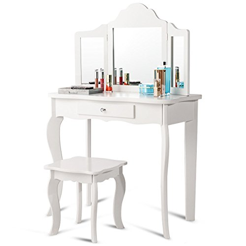 Costzon Kids Wooden Vanity Table & Stool Set