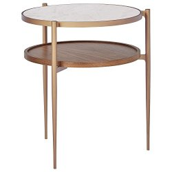 "Rivet Modern Metal Side Table, 18""W, White/Brass/Walnut"