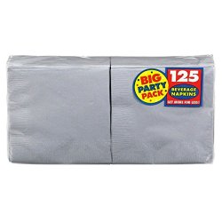 Amscan Silver Big Party Pack - Beverage Napkins - 125 Count