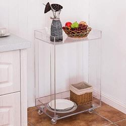 Tier Acrylic Clear Home Kitchen Rolling Serving Cart