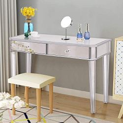 Tangkula Mirrored Makeup Table Desk Vanity