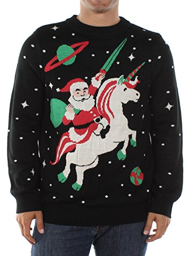 Tipsy Elves Men's Santa Unicorn Christmas Sweater Large