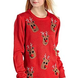 V28 Women's Christmas Reindeer Snowflakes Sweater
