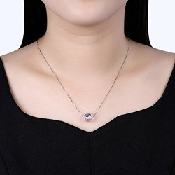 Aigemi Sterling Silver Crystal Pendant Necklace Fashion