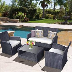 Poolside Cushioned Wicker Sectional Sofa Set