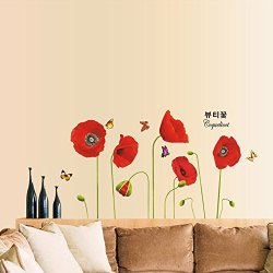 DIY Home Decoration Bright Red Corn Poppy