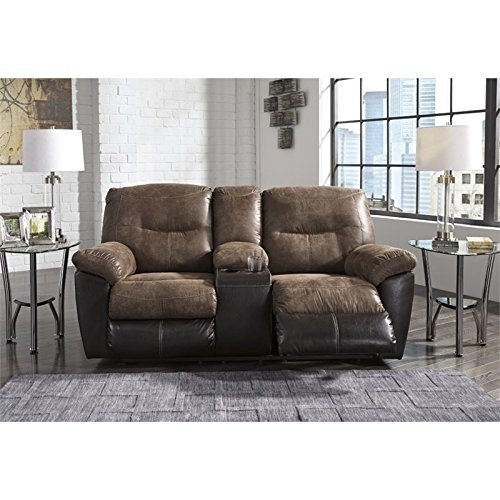 Design - Follett Overstuffed Upholstered Double Reclining Loveseat