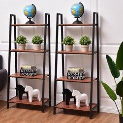 Tangkula 4-Tier Ladder Shelf Ladder Bookcase