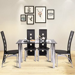Tangkula Dining Table Set 5 Piece Rectangle Table w/Glass Top