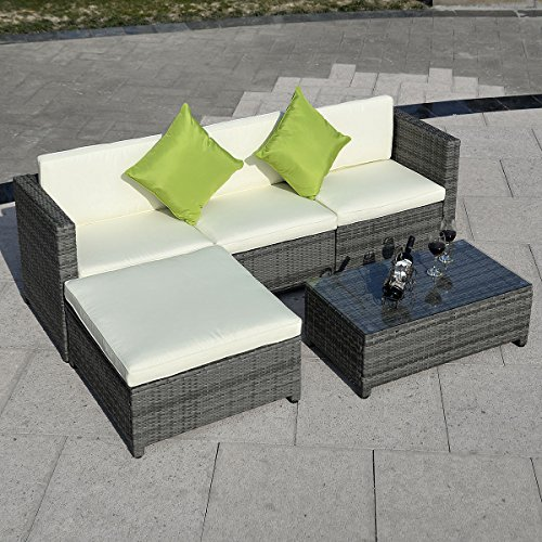 Tangkula 5PC Outdoor Patio Sofa Set Sectional Furniture PE Wicker Rattan Deck Couch (Gray)