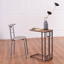 """Tangkula 26"""" Snack Table Solid Wood Heavy Duty Portable"""