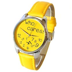 ZIZ Yellow Who Cares Watch, Quartz Analog Watch