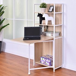Tangkula Convertible Desk Wood Folding Cabinet