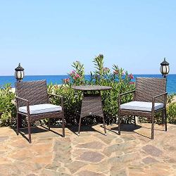 Set with 2 Cushioned Chairs & End Table Backyard Garden