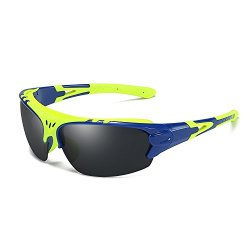 Aigemi Polarized Sports Sunglasses for Men Women Aigemi Polarized Sports Sunglasses for Men Women Cycling Running Driving Fishing Golf Baseball (Blue(Yellow)/Black).