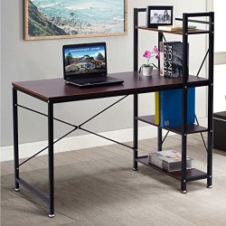 Modern Style Writing Study Table with 4 Tier Bookshelves