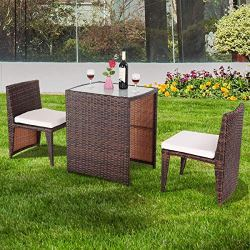 Cushioned Chairs Durable Rattan Wicker Patio Chat Set