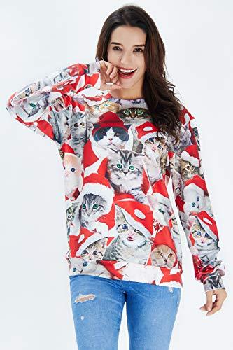 Raisevern Womens Pizza Cat Meow Santa Hat Print