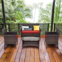 Tangkula 4 PCS Patio Wicker Furniture Set Outdoor