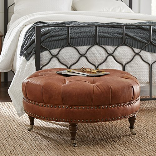 Stone & Beam Janelle Button Tufted Leather Ottoman