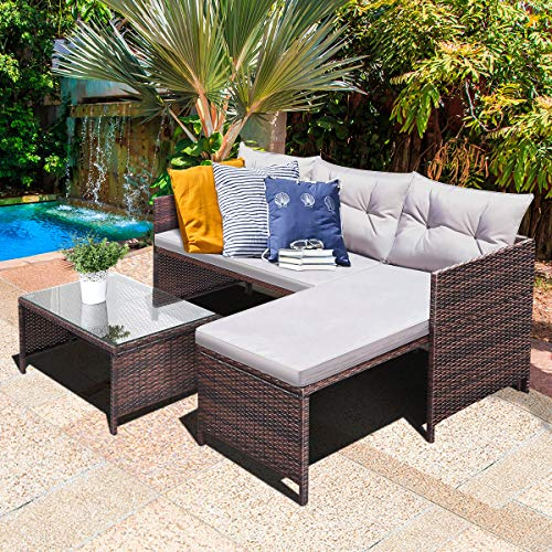 Tangkula 3 PCS Outdoor Rattan Furniture Sofa Set
