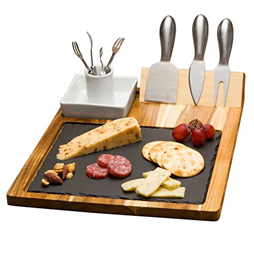 Zelancio Slate Cheese Board Set - 10 Piece Set
