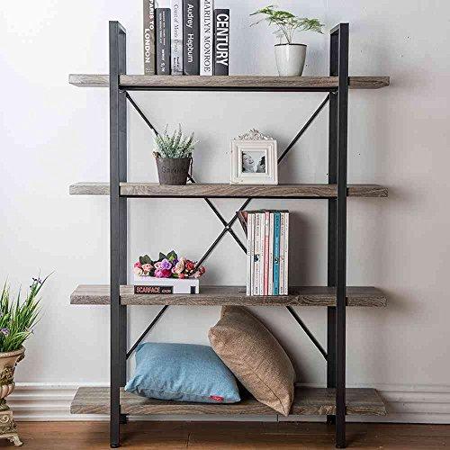 HSH Furniture 4-Shelf Vintage Industrial Bookshelf