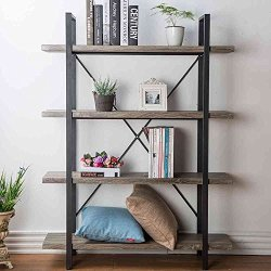 HSH Furniture 4-Shelf Vintage Industrial Bookshelf