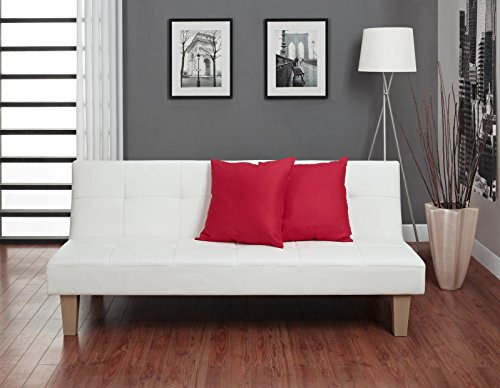 DHP Aria Futon Couch, Tufted Faux Leather Upholstery